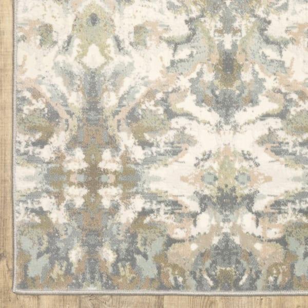 Abstract Ikat Ivory Gray Indoor Runner Rug