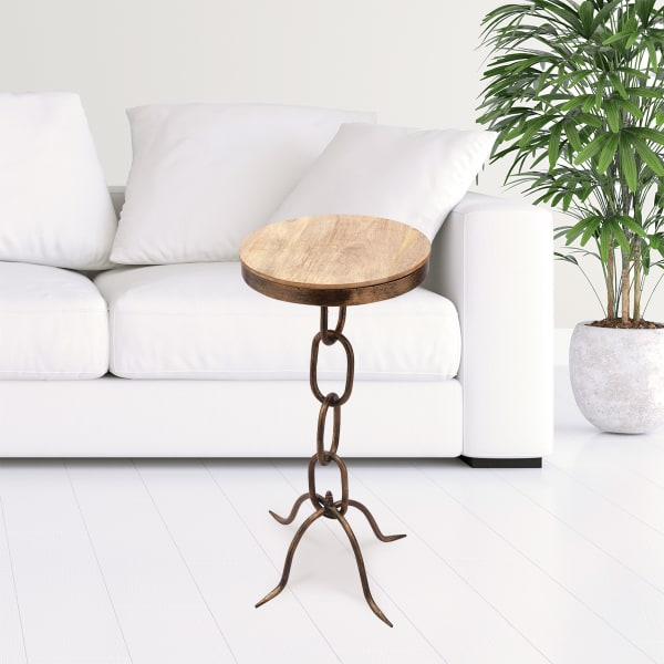 Chain Link Antique Bronze Iron End Table
