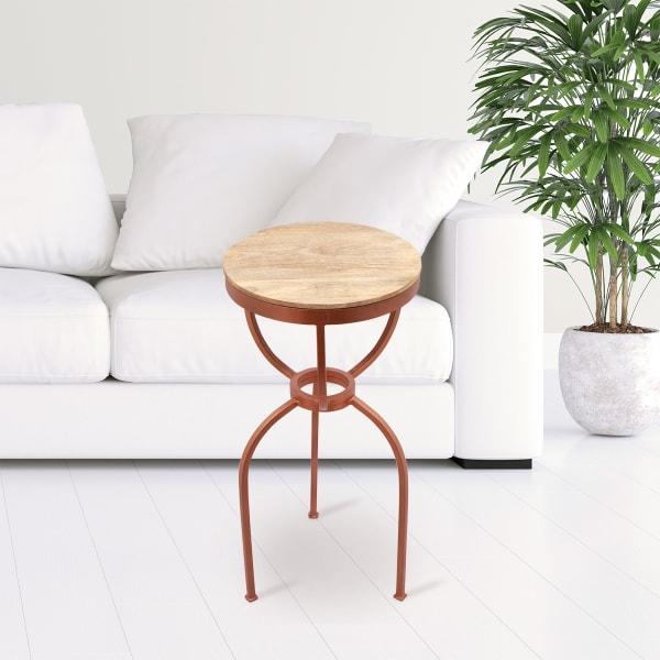 Three Legged Antique Copper Iron End Table