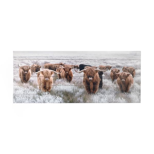 Highland Herd Print on Wood Wall Art