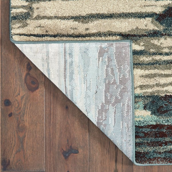 2' x 3' Ivory Blue Gray Abstract Layers Indoor Accent Rug