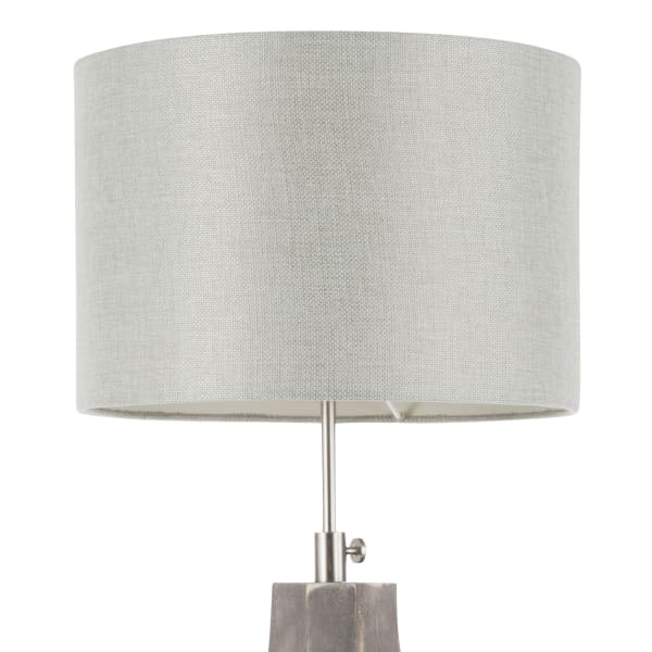 Wishbone Wood with Light Grey Linen Shade Table Lamp