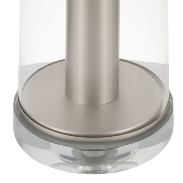Glacier Brushed Nickel Metal and Glass Base with Grey Linen Shade Table Lamp