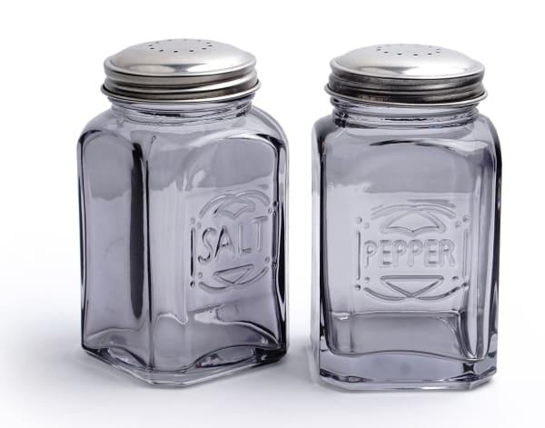 Retro Glass Gray Salt & Pepper Set