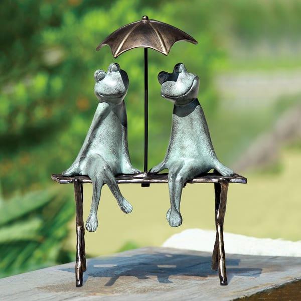 Frog Lovers Verdigris Aluminum Garden Sculpture