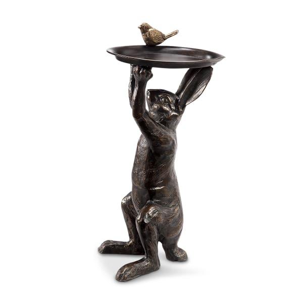 Bunny's Best Friend Antique Bronze Cast Iron Birdfeeder