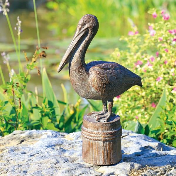 Feathered Fisherman Pelican Dark Grey Cast Iron Garden Sculpture