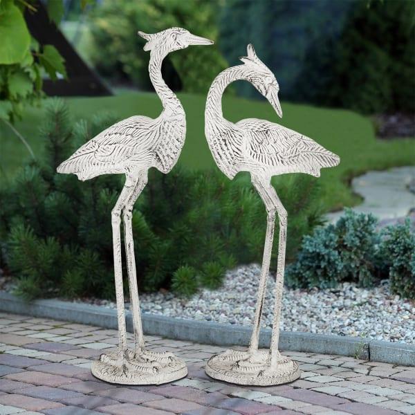 Courting Egret Pair Antique White Aluminum Garden Sculpture
