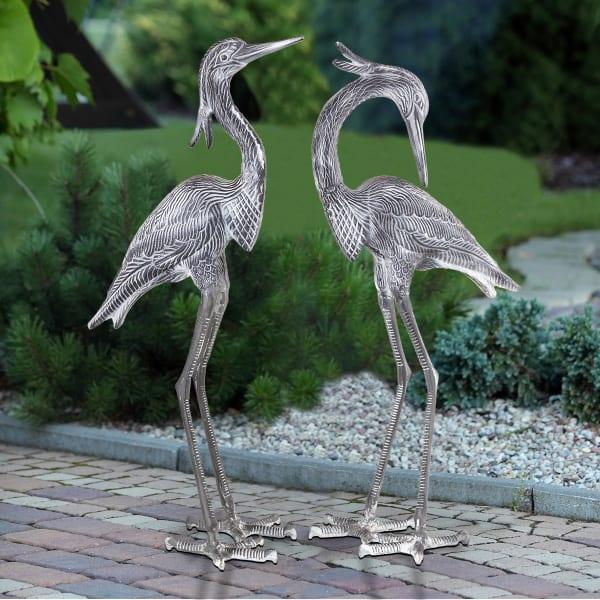 Crested Egret Pair Antique Grey Aluminum Garden Sculpture