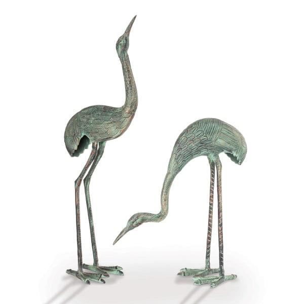Foraging Crane Pair Antique Verdigris Aluminum Garden Sculpture