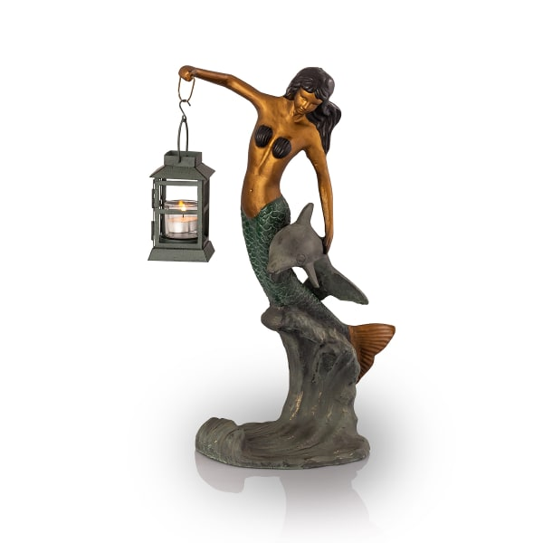 Mermaid Antique Gold with Lantern Aluminum Garden Sculpture