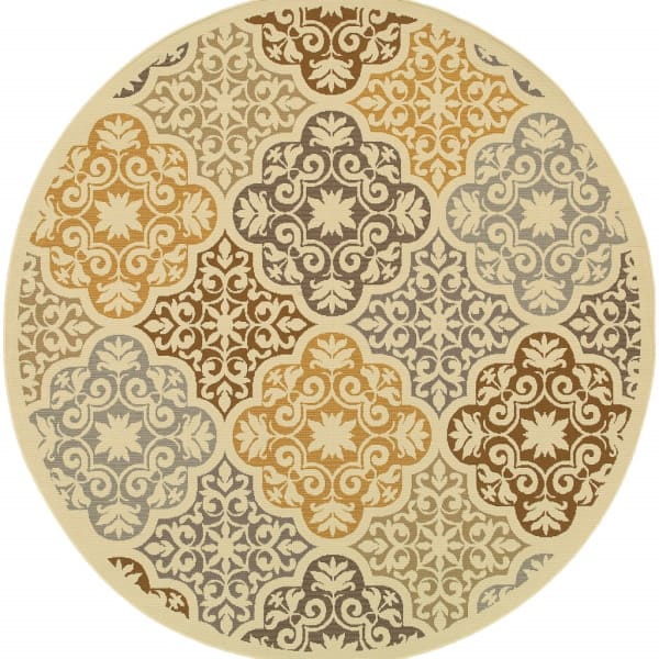 7' Round Ivory Grey Floral Medallion Outdoor Area