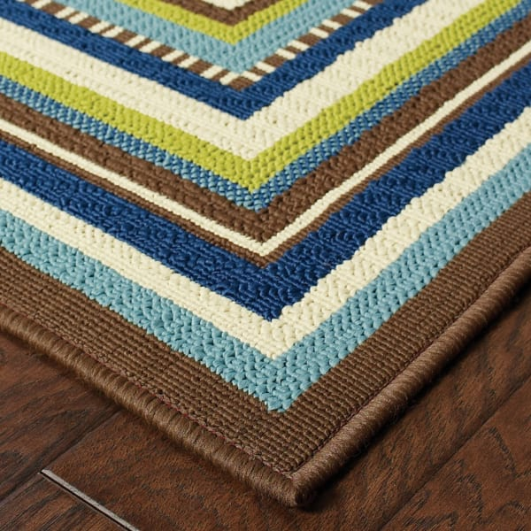 7' Round Ivory Mediterranean Blue and Lime Border Outdoor Area Rug