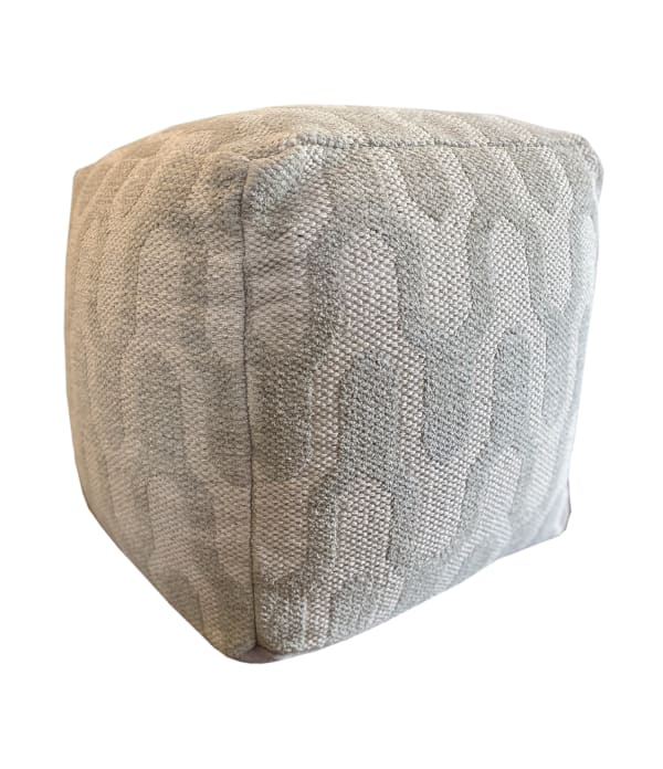 Archie Grey and Green Square Cotton Pouf