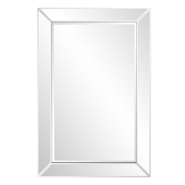 Rectangle Wooden Frame Mirror with Beveled Edge