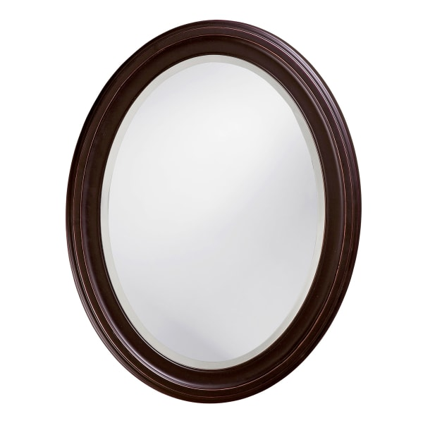 Oval Oil Rubbed Bronze Mirror with Wooden Grooves Frame