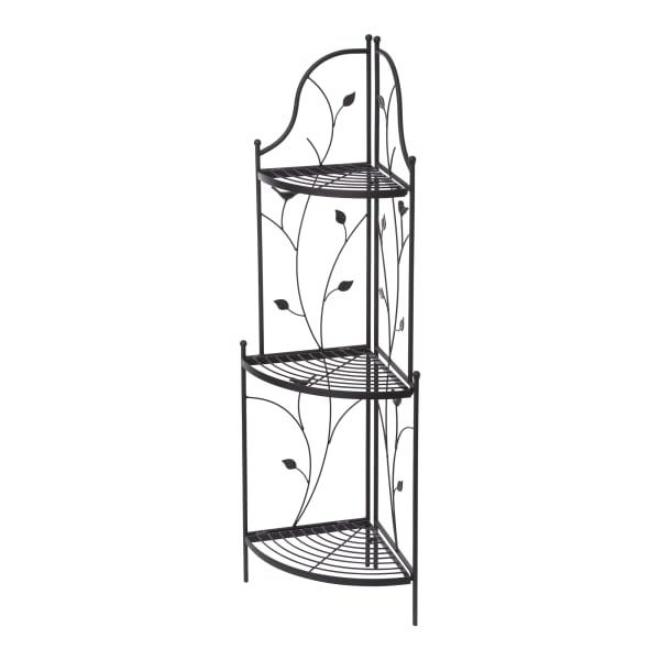 Glitzhome 3-Tiered Black Metal Corner Shelf Plant Stand