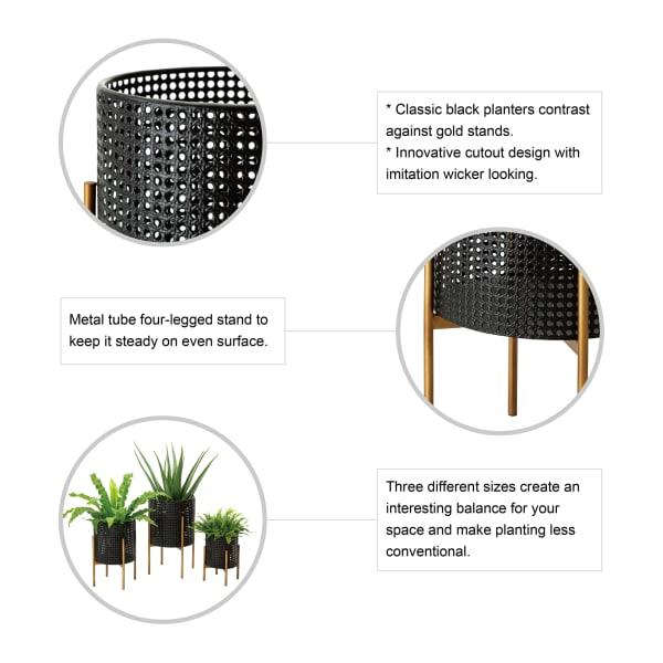 Black Faux Wicker Metal Set of 3 Pot Planter Stands