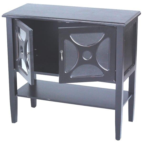 Modern Finish Half Moon Mirror Accent Cabinet