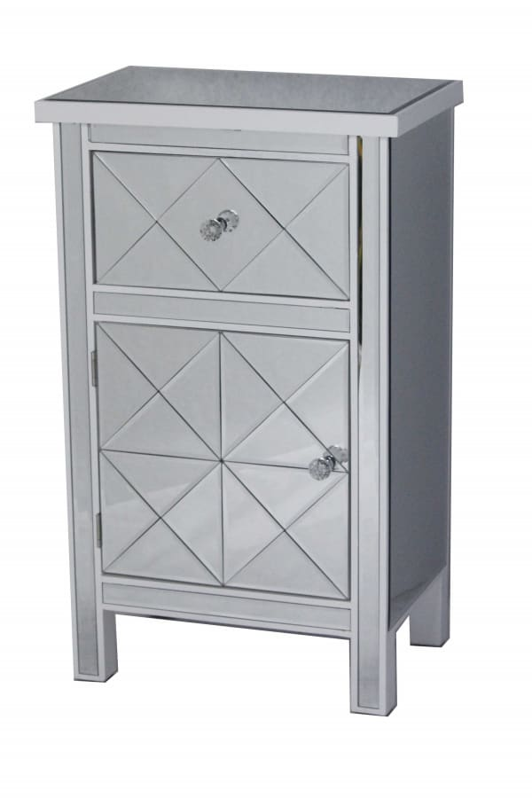 Antiqued Mirrored Glass Accent Cabinet