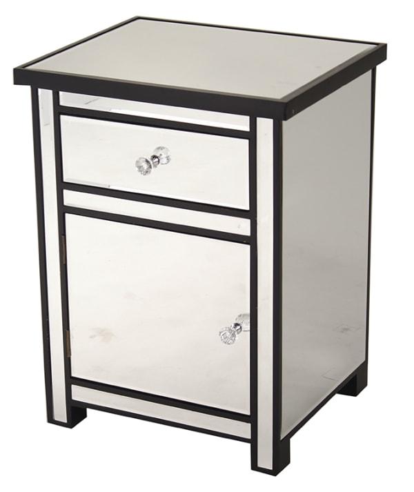 Wood Finish Mirrored Glass Drawer Cabinet