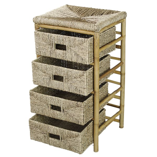 Natural Bamboo and Seagrass with Baskets Cabinet