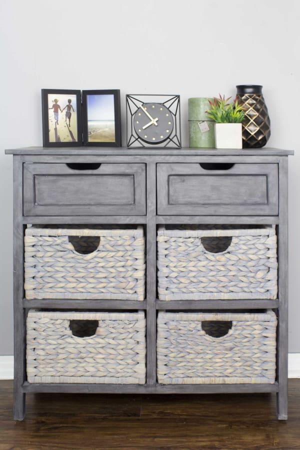 Modern Farmhouse Rustic Basket Cabinet