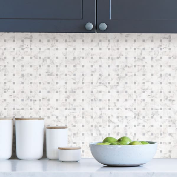 Bianco Carrara Tile Peel and Stick Backsplash