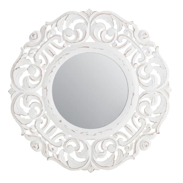Temora White Carved Wall Mirror