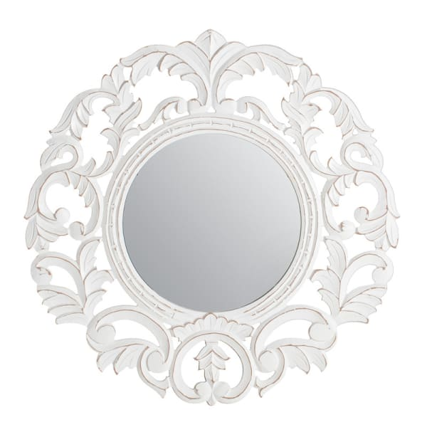 Foley White Carved Wall Mirror