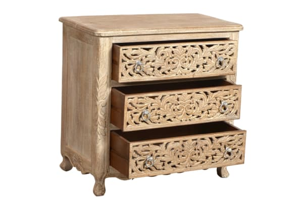 Hand Carved 3 Drawer Chest