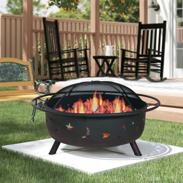 Wood Burning with Charcoal Grill and Screen Fire Pit