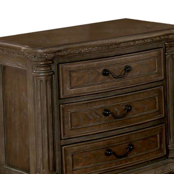 Intricate Carving Details 3-Drawer Wooden Brown Nightstand