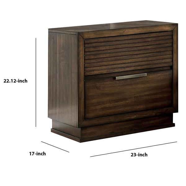 Rustic Finger Pull Handle 2-Drawer Style Wooden Brown Nightstand