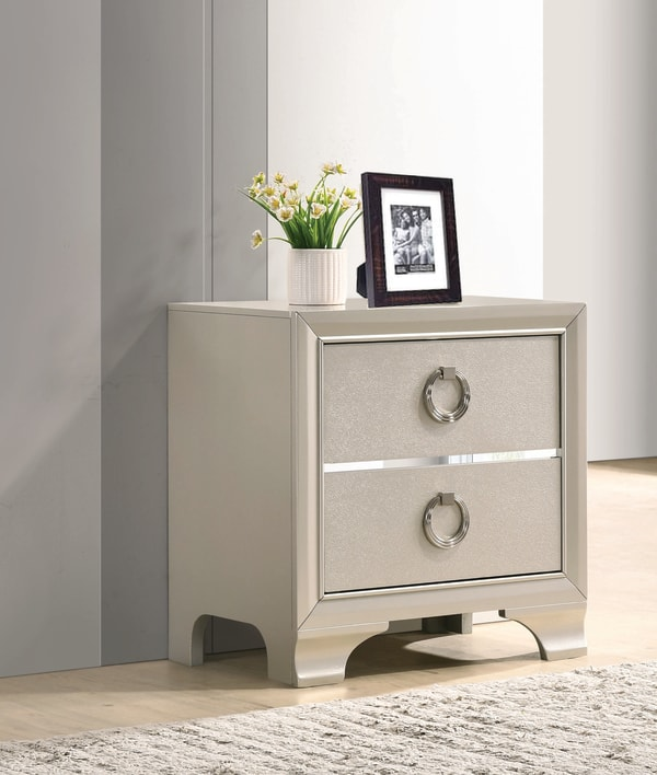 Oversized Ring Handles 2-Drawer Wooden Silver Nightstand