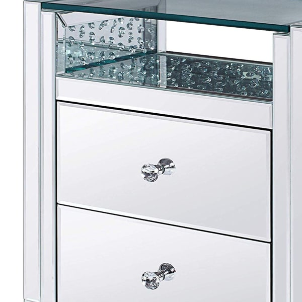 Mirrored Paneling 2-Drawer Wooden Clear Nightstand