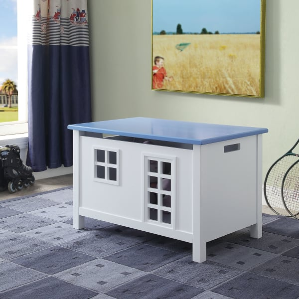 Lift Top Storage and Cutout Design Wooden Blue and White Youth Chest