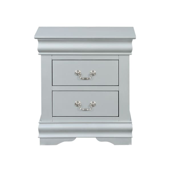 Traditional Bracket Base 2-Drawer Wooden Gray Nightstand