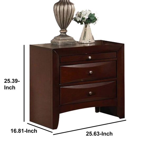 2-Drawer and 1 Pull Out Tray Wooden Cherry Brown Nightstand