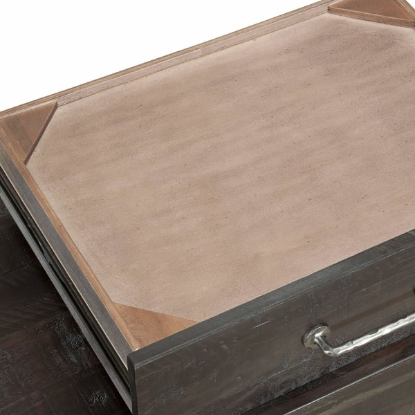 2-Drawer and 1 Pull Out Tray Wooden Gray Nightstand