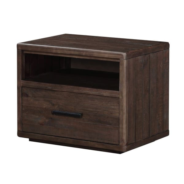 1-Drawer and 1-Shelf Wooden Brown Nightstand