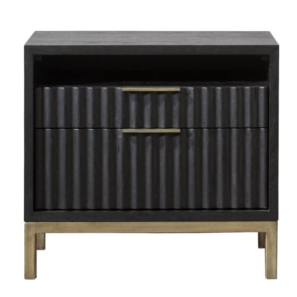 Scalloped Drawer Fronts Wood and Metal Black and Brass Nightstand