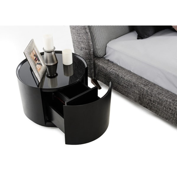 Glass Table Top 1-Drawer Round Black Nightstand