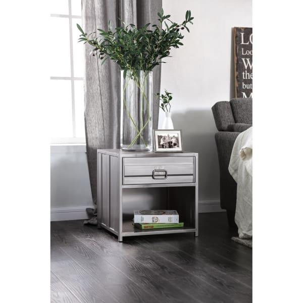 Industrial Bottom Shelf 1-Drawer Metal Gray Nightstand