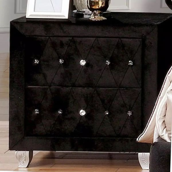 Crystal Accents Fabric 2-Drawer Upholstered Solid Wood Black Nightstand