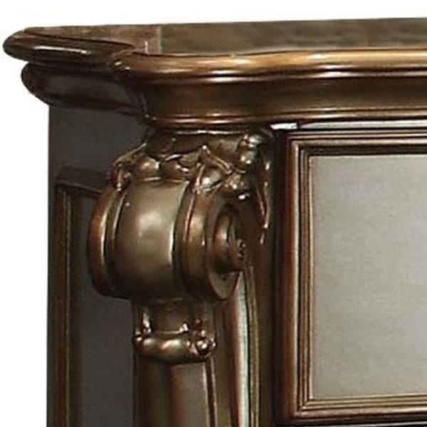 Oversized Scroll Legs 2-Drawer Wooden Gold Nightstand
