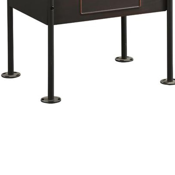 Industrial Pipe Detailed 1-Drawer And One Shelf Antique Oak and Sandy Grey Nightstand