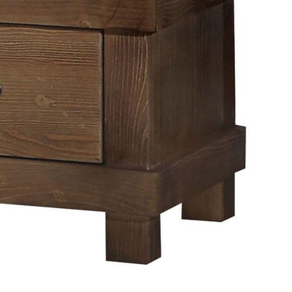 Metal Handle 2-Drawer Antique Oak Nightstand