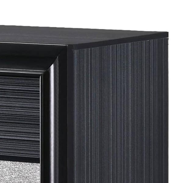 2-Drawer and Felt Lined Jewelry Tray Wooden Black Nightstand