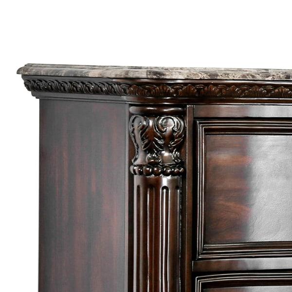 Transitional Genuine Marble Top Wood Brown Nightstand